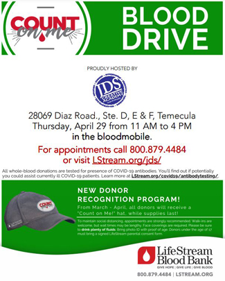 JDSCA April 2021 Blood Drive