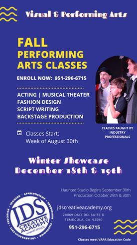 Fall Performing Arts 2021 Classes